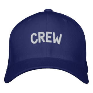 Crew text embroidered hats