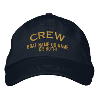 CREW Your Boat Name Your Name or Both! Embroidered Baseball Hat