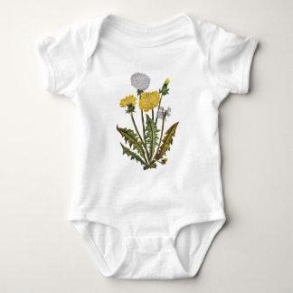 Crewel Embroidered Golden Dandy Lions Baby Bodysuit
