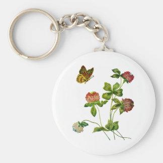 Crewel Embroidered Irish Clover Basic Round Button Keychain