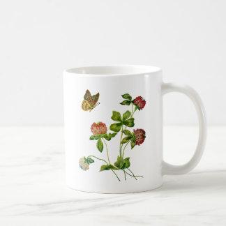 Crewel Embroidered Irish Clover Coffee Mug