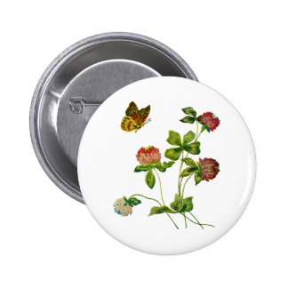 Crewel Embroidered Irish Clover Pinback Button