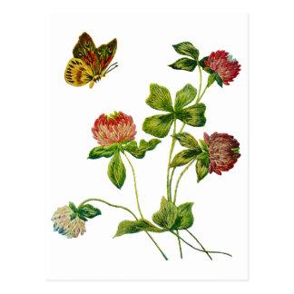 Crewel Embroidered Irish Clover Postcard