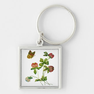 Crewel Embroidered Irish Clover Silver-Colored Square Keychain