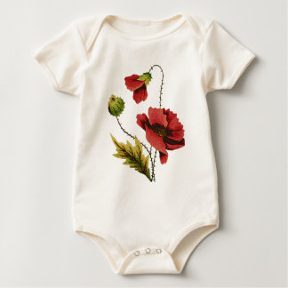 Crewel Embroidery Red Poppy Baby Bodysuit
