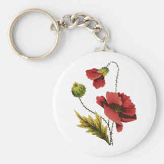 Crewel Embroidery Red Poppy Basic Round Button Keychain