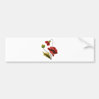 Crewel Embroidery Red Poppy Bumper Sticker
