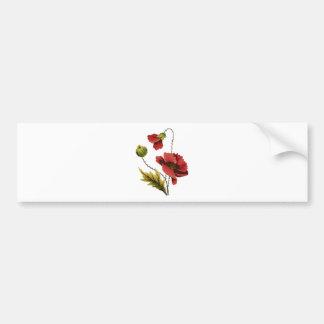 Crewel Embroidery Red Poppy Bumper Sticker