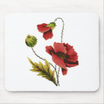 Crewel Embroidery Red Poppy Mouse Pads