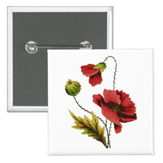 Crewel Embroidery Red Poppy Pinback Button