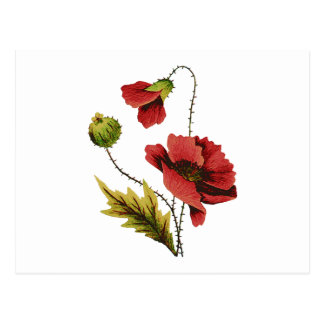 Crewel Embroidery Red Poppy Postcard