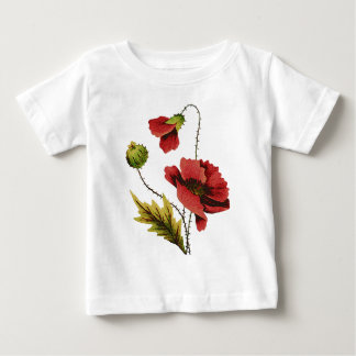 Crewel Embroidery Red Poppy Shirt