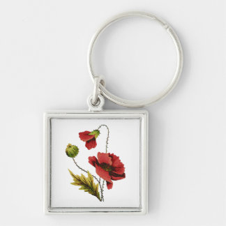 Crewel Embroidery Red Poppy Silver-Colored Square Keychain