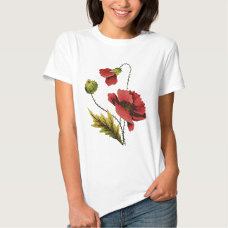 Crewel Embroidery Red Poppy T Shirt