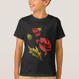 Crewel Embroidery Red Poppy T-Shirt