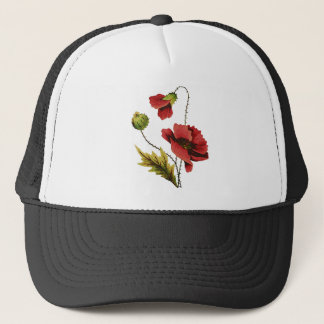 Crewel Embroidery Red Poppy Trucker Hat
