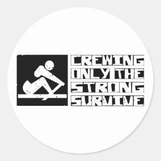 Crewing Survive Round Sticker