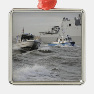 Crews from the coast guard and police departmen metal ornament