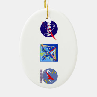 Crews to the ISS:  Expedition 14 Double-Sided Oval Ceramic Christmas Ornament