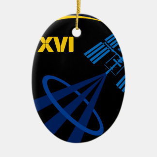 Crews to the ISS:  Expedition 16 Double-Sided Oval Ceramic Christmas Ornament