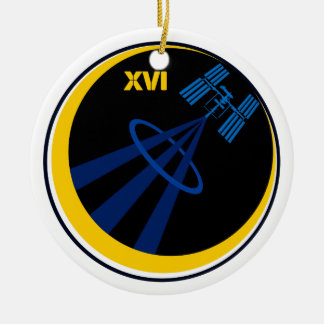 Crews to the ISS:  Expedition 16 Double-Sided Ceramic Round Christmas Ornament
