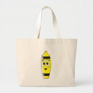 Creyón amarillo del dibujo animado bolsa tela grande