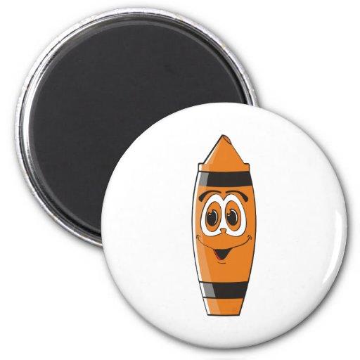 Creyón anaranjado S del dibujo animado Imán Redondo 5 Cm