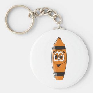 Creyón anaranjado S del dibujo animado Llavero Redondo Tipo Pin