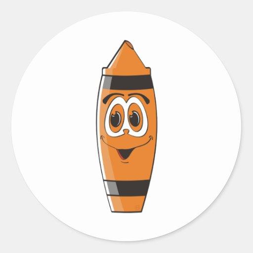 Creyón anaranjado S del dibujo animado Pegatinas Redondas