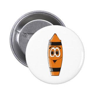 Creyón anaranjado S del dibujo animado Pin Redondo 5 Cm