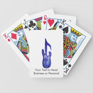 creyón azul de la nota de la música de la guitarra barajas de cartas