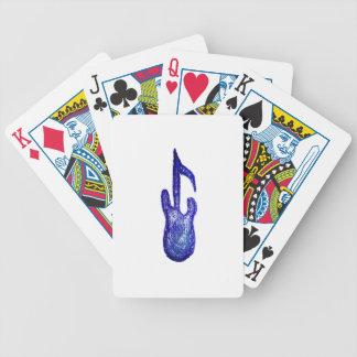 creyón azul de la nota de la música de la guitarra cartas de juego