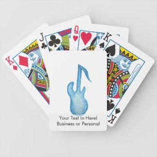 creyón azul de la nota de la música de la guitarra baraja cartas de poker