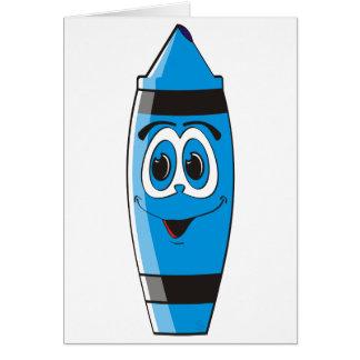 Creyón azul del dibujo animado tarjeta de felicitación