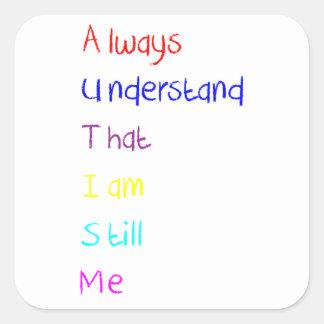 Creyón del poema del Acrostic del autismo Pegatina Cuadrada