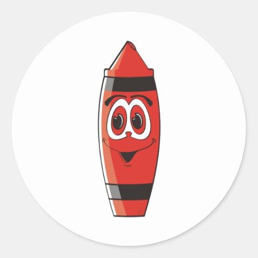 Creyón rojo del dibujo animado pegatinas redondas