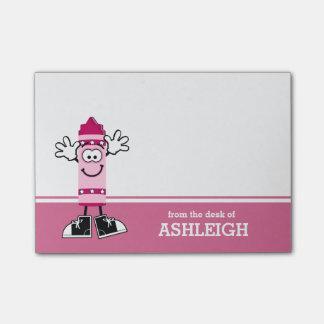 Creyón rosado personalizado nota post-it
