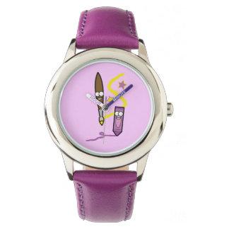 Creyón y brocha del dibujo animado relojes de mano