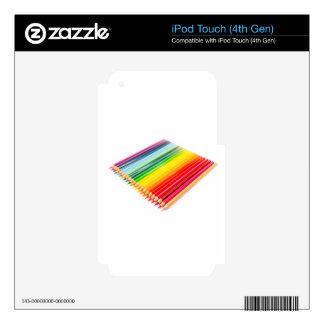 Creyones coloreados que mienten de lado a lado iPod touch 4G calcomanías
