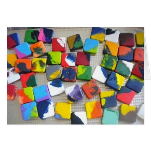 creyones cuadrados en blanco de saludo del arco ir tarjetas