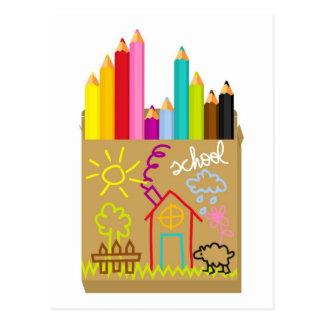 "Creyones de la ""escuela"" tarjeta postal"