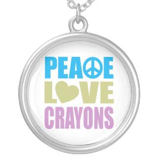 Creyones del amor de la paz colgante redondo