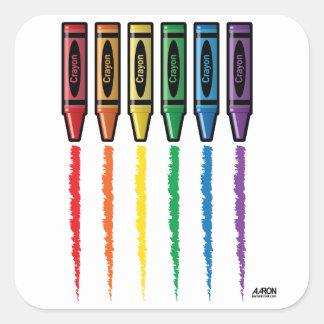 Creyones del arco iris pegatina cuadrada