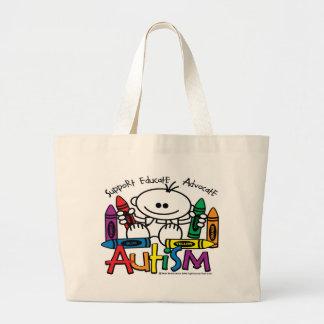 Creyones del autismo bolsa tela grande