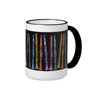 Creyones del Clarinet en negro Taza De Café