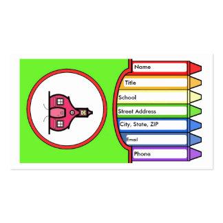 Creyones rosados de la escuela tarjetas de negocios