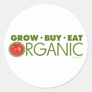 Crezca, compre, coma orgánico pegatina redonda