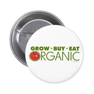 Crezca, compre, coma orgánico pin redondo de 2 pulgadas