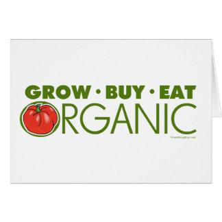 Crezca, compre, coma orgánico tarjeta de felicitación