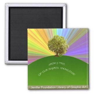 Crezca el árbol del conocimiento imán cuadrado